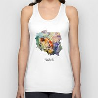 poland Tank Tops featuring Map of Poland watercolor by jbjart