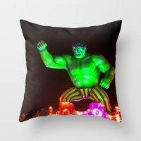 hulk Throw Pillows featuring Hulk by Roser Arques