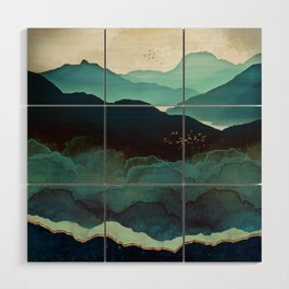 Indigo Mountains Wood Wall Art