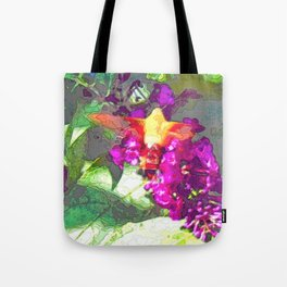 Butterfly Over Fuchsia Flowers Tote Bag