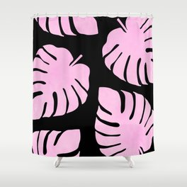Pink Monstera Leaves Pattern Shower Curtain