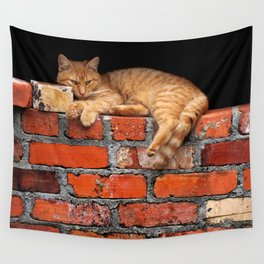 Orange Cat on Red Brick Wall Wall Tapestry