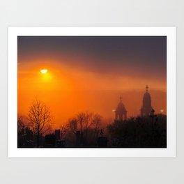Foggy Portland Sunset (3) Art Print