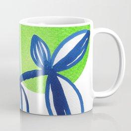 Blue and lime green minimalist leaves Coffee Mug