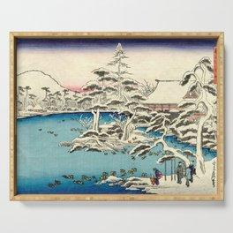 Snowy Dawn at Ryoan-ji Temple by Hasegawa Sadanobu - Japanese Vintage Ukiyo-e Woodblock Painting Serving Tray