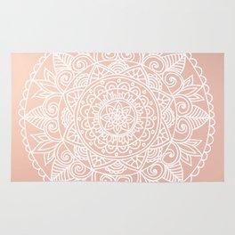 White Mandala on Rose Gold Rug