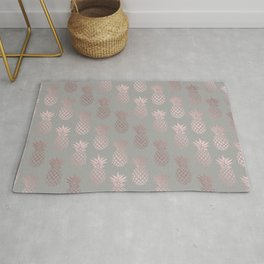 Girly rose gold & grey pineapple pattern Rug
