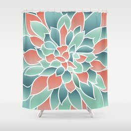 Festive, Floral Prints, Art Designs, Coral, Teal and Green Shower Curtain