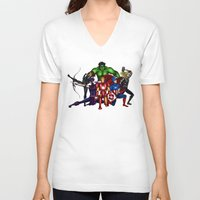 heroes V-neck T-shirts featuring Heroes by Callie Clara