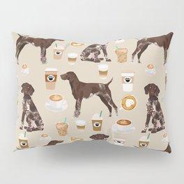 German Shorthair Pointer dog breed custom pet portrait coffee lover pet friendly gifts Pillow Sham