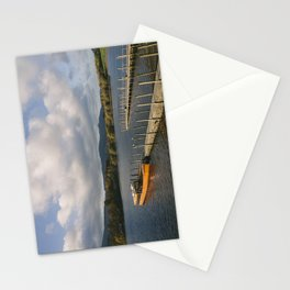 Tour boat moored at Keswick end of Derwent Water. Lake District, UK. Stationery Cards