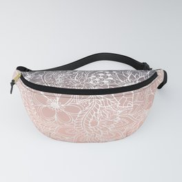navy blue pastel peach ombre gradient white floral pattern Fanny Pack