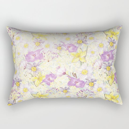 Vintage pattern- Spring in purple and yellow- daffodils and anemones Rectangular Pillow