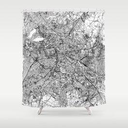 Berlin White Map Shower Curtain