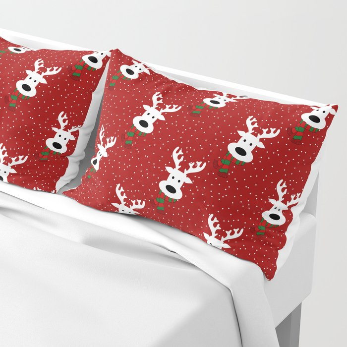 Reindeer in a snowy day (red) Kissenbezug