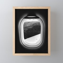 Window Seat // Scenic Mountain View from Airplane Wing // Snowcapped Landscape Photography Framed Mini Art Print
