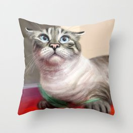 Cat Surprised Funny Animals with Feather Siamese Lynx-Point Throw Pillow
