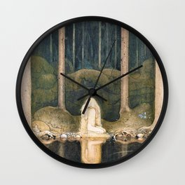 John Bauer - Tuvstarr is still sitting there wistfully looking into the water - Digital Remastered Edition Wall Clock