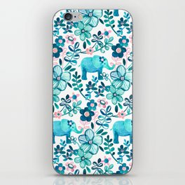 Dusty Pink, White and Teal Elephant and Floral Watercolor Pattern iPhone Skin
