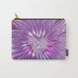 Pink Flower Passion, Abstract Fractal Art Carry-All Pouch