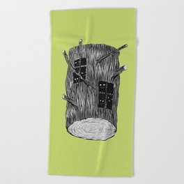 Mysterious Forest Creatures In Tree Log Beach Towel