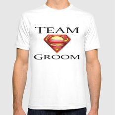 Superman Groom White Mens Fitted Tee SMALL