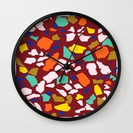 Terrazzo Pattern in Wine Wall Clock