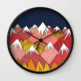 The mountains in the forest Wall Clock