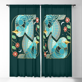 Beautiful Art Deco Midnight Bluebirds And Blossoms Blackout Curtain