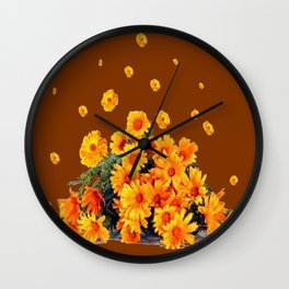 COFFEE BROWN SHOWER GOLDEN FLOWERS Wall Clock