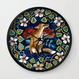 Fox and Flower Tapestry Original Watercolor Wall Clock
