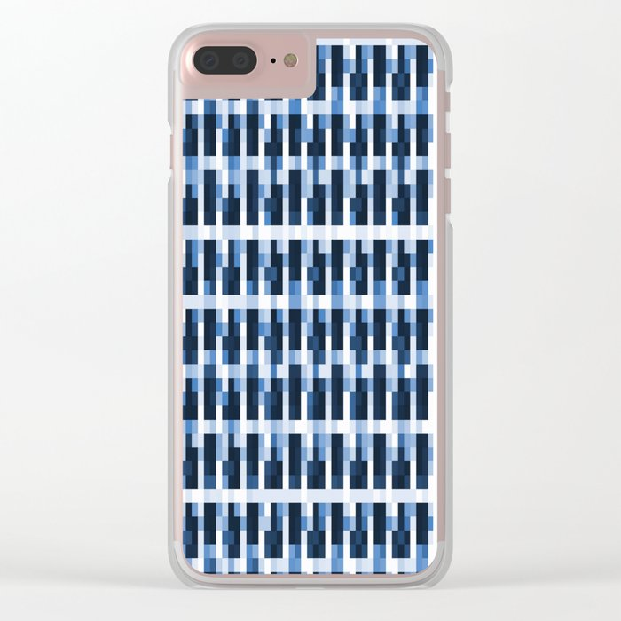 Blue Pixelated Pattern Clear iPhone Case