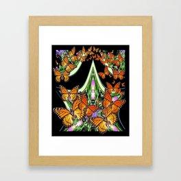 Modern Art Deco Black Monarch Butterflies GreenDesign Framed Art Print