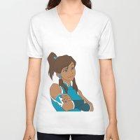korra V-neck T-shirts featuring Korra by Nicky Severein