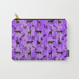Animal kingdom. Black silhouettes of wild animals. African giraffes, leopards, cheetahs. snakes, exotic tropical birds. Tribal primitive ethnic nature purple grunge distressed pattern. Carry-All Pouch