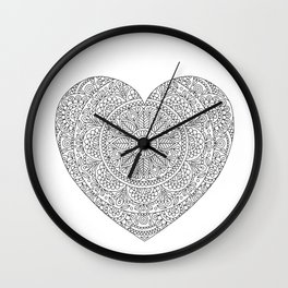 Mandala Heart with Flowers and Leaves for Adult Coloring Wall Clock