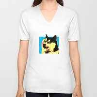 doge V-neck T-shirts featuring Doge Pop by Julien