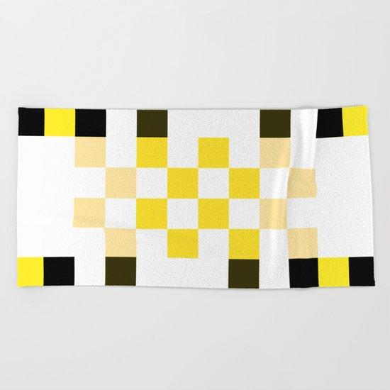 Yellow Pixel Beach Towel