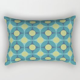 Geometric Circle Pattern Mid Century Modern Retro Blue Green Rectangular Pillow