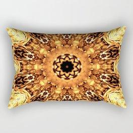Yellow Brown Mandala Abstract Flower Rectangular Pillow