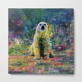 Colorful Polar Bear Watercolor Metal Print