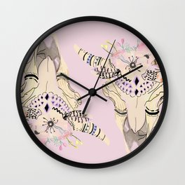 Boho chic skeleton pastel palette Wall Clock