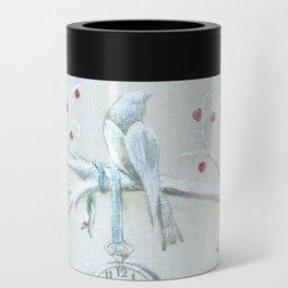 Winter bird on linen Can Cooler