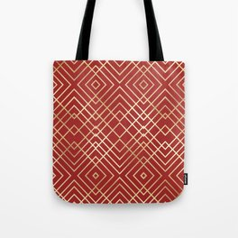 Modern Chinese Red Art Deco Geometric Pattern Tote Bag