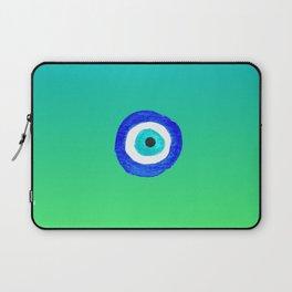 Single Evil Eye Amulet Talisman Ojo Nazar - ombre lime to tuquoise Laptop Sleeve