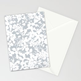 White and Grey Botanical Silhouette Pattern - Broken but Flourishing Stationery Cards