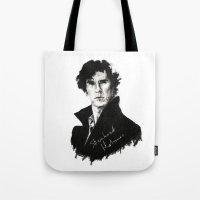 sherlock holmes Tote Bags featuring Sherlock Holmes by StarshipRanger