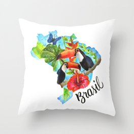 Brasil Watercolor Throw Pillow