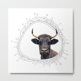 Cow Farm Animal Portrait Peekaboo Whimsical Rustic Modern Cute Metal Print