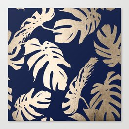 Simply Palm Leaves in White Gold Sands on Nautical Navy Canvas Print